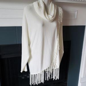 New Cream Beige Cowl Neck Fringe Long Sweater Lg
